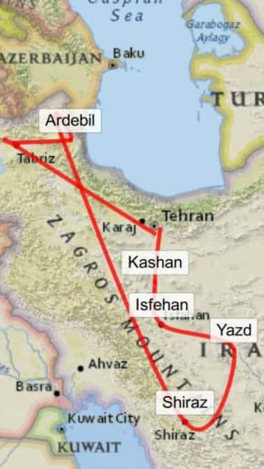 Reiseroute Iran