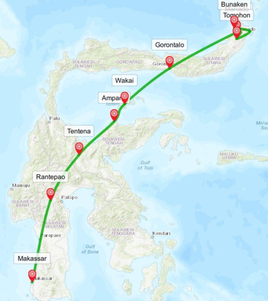 Reiseroute durch Sulawesi