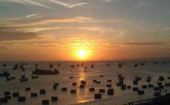 Sonnenuntergan in dem kleinen Fischerdorf Mui Ne