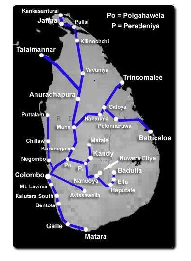 Zug-Karte von Sri Lanka