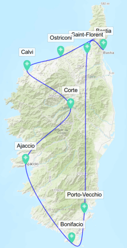 Karte mit Route durch Korsika